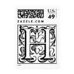Monograma 'H de la flor de lis del vintage Sello