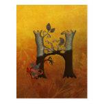 Monograma H del árbol del otoño Tarjetas Postales