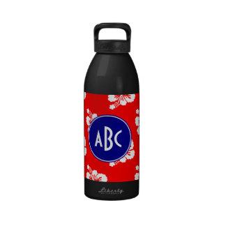 Monograma hawaiano blanco y azul rojo botella de agua reutilizable
