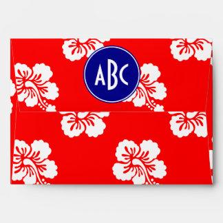 Monograma hawaiano blanco y azul rojo sobre