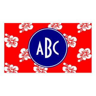 Monograma hawaiano blanco y azul rojo tarjetas de visita