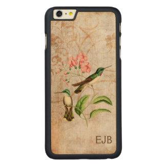 Monograma hinchado blanco del colibrí de la gema funda de arce carved® para iPhone 6 plus slim