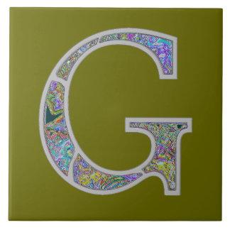 Monograma iluminado Gg Azulejo Cuadrado Grande