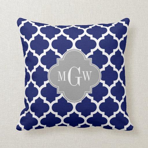 Monograma inicial azul del gris 3 blancos del almohada