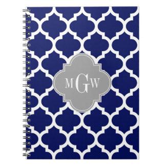 Monograma inicial azul del gris 3 blancos del libreta