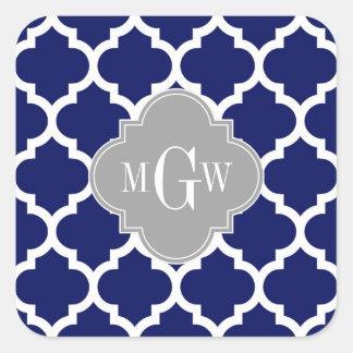 Monograma inicial azul del gris 3 blancos del pegatinas cuadradas