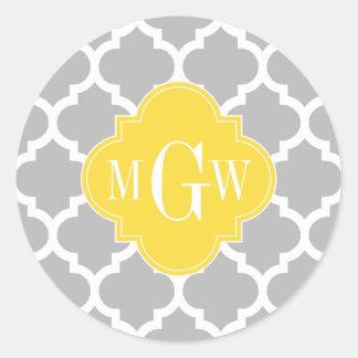 Monograma inicial blanco gris de la piña 3 del pegatina redonda