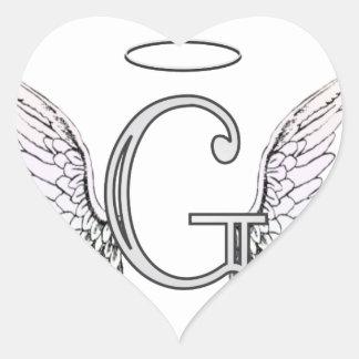 Monograma inicial de G de la letra con las alas y Pegatina En Forma De Corazón