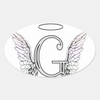 Monograma inicial de G de la letra con las alas y Pegatina Ovalada