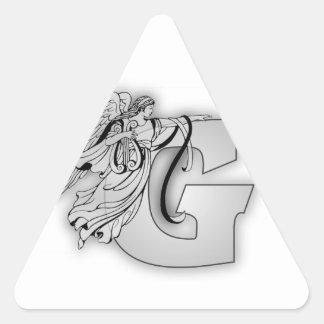 Monograma inicial de G del alfabeto del ángel Pegatina Triangular