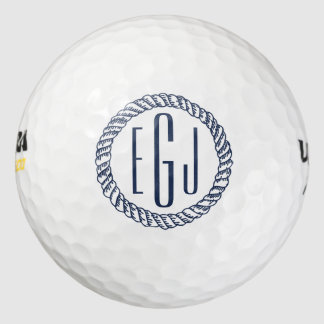 Monograma inicial de la cuerda tres náuticos de la pack de pelotas de golf