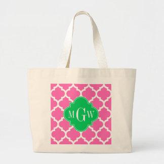 Monograma inicial de la esmeralda #5 3 marroquíes bolsa tela grande