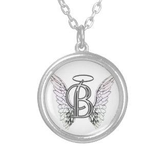 Monograma inicial de la letra B con las alas y hal Colgante Redondo