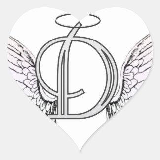 Monograma inicial de la letra D con las alas y Pegatina En Forma De Corazón