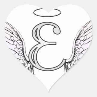 Monograma inicial de la letra E con las alas y Calcomanías De Corazones