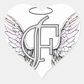 Monograma inicial de la letra F con las alas y Pegatina En Forma De Corazón