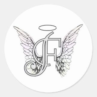 Monograma inicial de la letra F con las alas y Pegatina Redonda