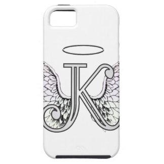 Monograma inicial de la letra K con las alas y hal iPhone 5 Case-Mate Carcasas