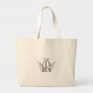 Monograma inicial de la letra P con las alas y hal Bolsa Tela Grande