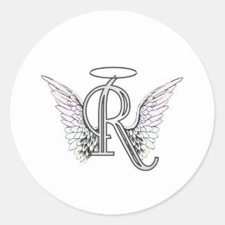 Monograma inicial de la letra R con las alas y hal Pegatinas