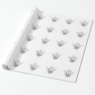 Monograma inicial de la letra T con las alas y Papel De Regalo