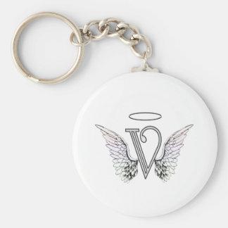 Monograma inicial de la letra V con las alas y Llavero Redondo Tipo Pin