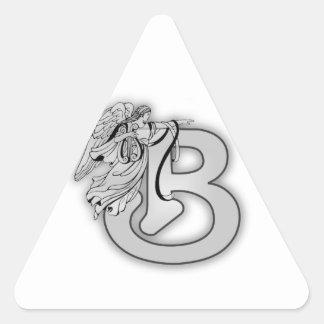 Monograma inicial del alfabeto B del ángel Pegatina Triangular