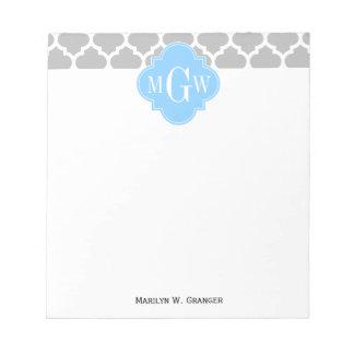 Monograma inicial del azul de cielo #5 del blanco bloc de notas