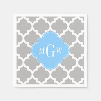 Monograma inicial del azul de cielo #5 del blanco servilleta desechable