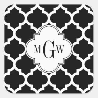 Monograma inicial del blanco 3 blancos negros del pegatina cuadrada