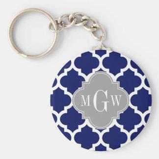 Monograma inicial del gris 3 blancos del marroquí llavero redondo tipo pin
