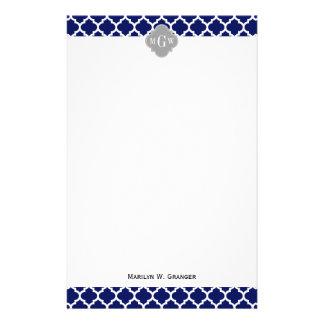 Monograma inicial del gris 3 blancos del marroquí papeleria personalizada