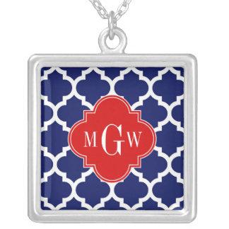 Monograma inicial del rojo 3 blancos del marroquí collar plateado