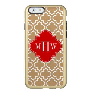 Monograma inicial del rojo 3 blancos del marroquí funda para iPhone 6 plus incipio feather shine