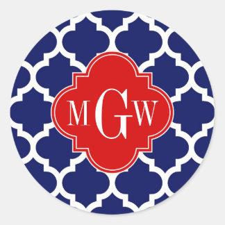 Monograma inicial del rojo 3 blancos del marroquí pegatina redonda