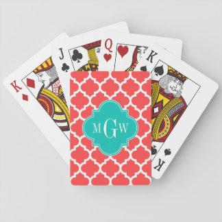 Monograma inicial del trullo 3 blancos rojos barajas de cartas