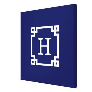 Monograma inicial dominante griego blanco del lienzo envuelto para galerias
