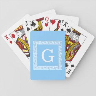 Monograma inicial dominante griego blanco del marc cartas de póquer