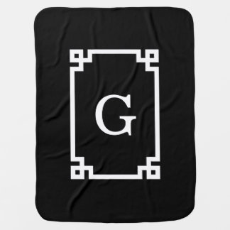 Monograma inicial dominante griego blanco negro mantitas para bebé