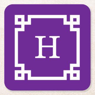 Monograma inicial dominante griego blanco púrpura