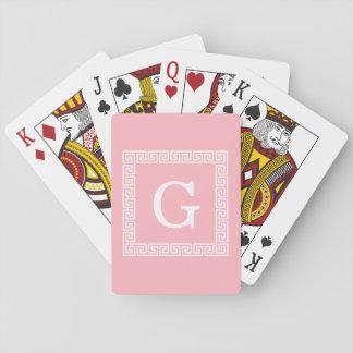 Monograma inicial dominante griego blanco rosado d baraja de cartas