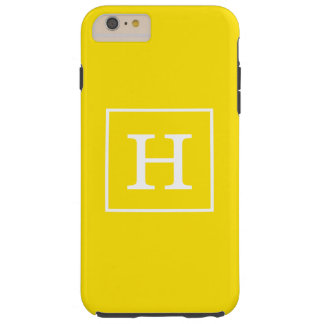 Monograma inicial enmarcado blanco amarillo funda para iPhone 6 plus tough