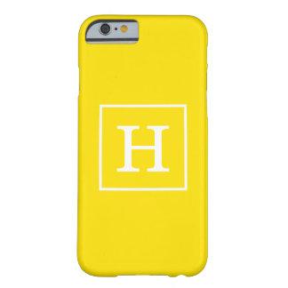 Monograma inicial enmarcado blanco amarillo funda de iPhone 6 barely there