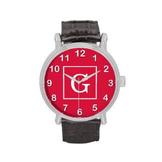 Monograma inicial enmarcado blanco carmesí relojes de pulsera