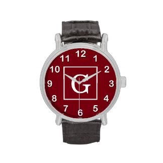 Monograma inicial enmarcado blanco de Borgoña Reloj De Mano