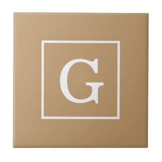 Monograma inicial enmarcado blanco de Brown del Tejas Ceramicas