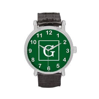 Monograma inicial enmarcado blanco de Forest Green Relojes De Mano