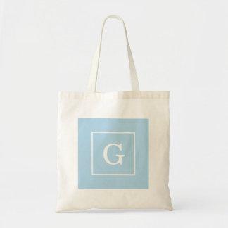 Monograma inicial enmarcado blanco de los azules bolsa tela barata