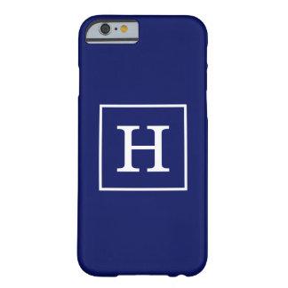 Monograma inicial enmarcado blanco de los azules funda para iPhone 6 barely there