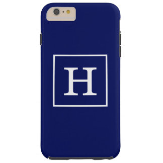 Monograma inicial enmarcado blanco de los azules funda de iPhone 6 plus tough